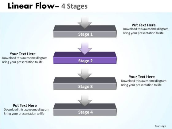 Marketing PowerPoint Template Linear Flow 4 Stages Project Management Graphic