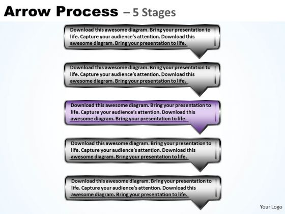 Marketing PowerPoint Template Sequential Process Using Rectangular Arrows Graphic