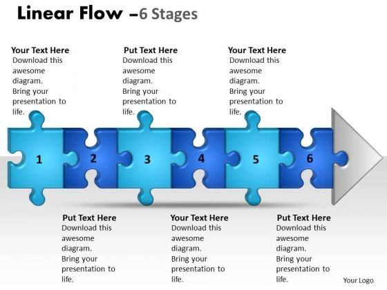 Marketing Ppt Background Linear Flow 6 Stages Style1 Communication