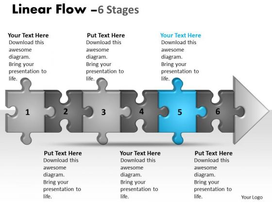 Marketing Ppt Template Linear Flow 6 Stages Style1 Business Plan PowerPoint Graphic