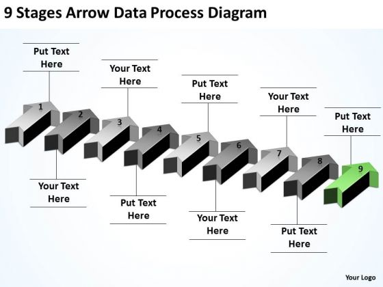 Massively Parallel Processing 9 Stages Arrow Data Diagram PowerPoint Slides