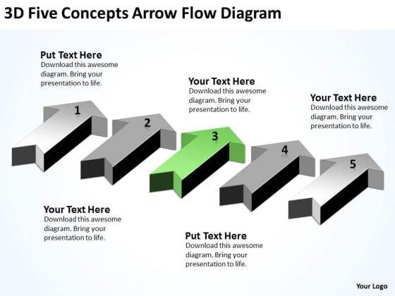 Massively Parallel Processor 3d Five Concepts Arrow Flow Diagram PowerPoint Templates