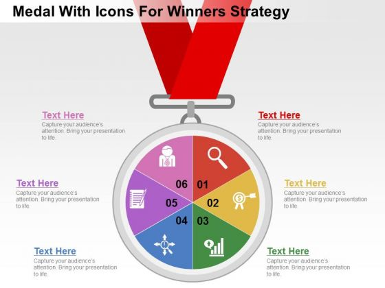 Medal With Icons For Winners Strategy PowerPoint Templates