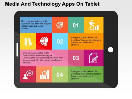 Media And Technology Apps On Tablet PowerPoint Templates