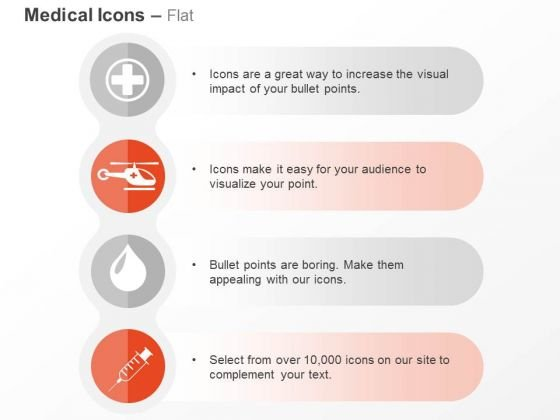 Medical Sign Chopper Blood Drop Syringe Ppt Slides Graphics