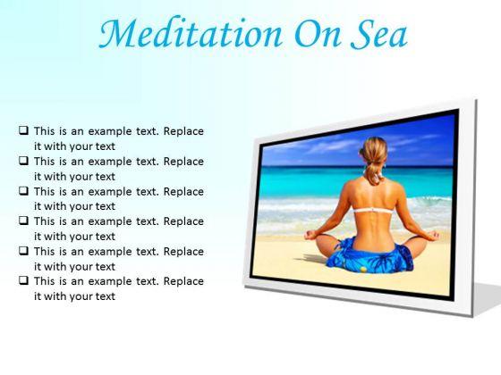 Meditation On Sea Beach PowerPoint Presentation Slides F