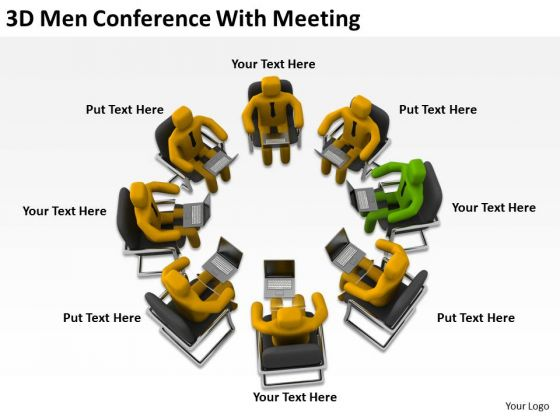 Men At Work Business As Usual 3d Conference With Meeting PowerPoint Templates