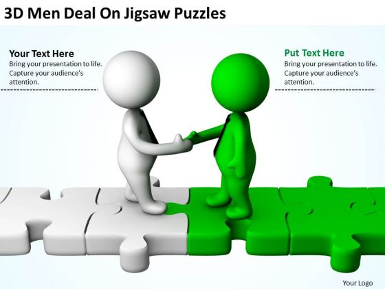 Men At Work Business As Usual 3d Deal On Jigsaw Puzzles PowerPoint Templates