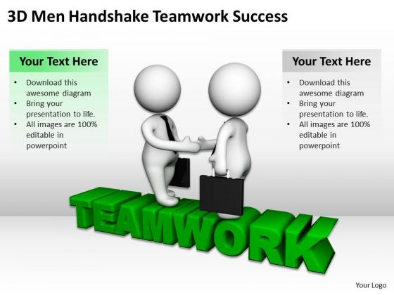 Men At Work Business As Usual 3d Handshake Teamwork Success PowerPoint Templates