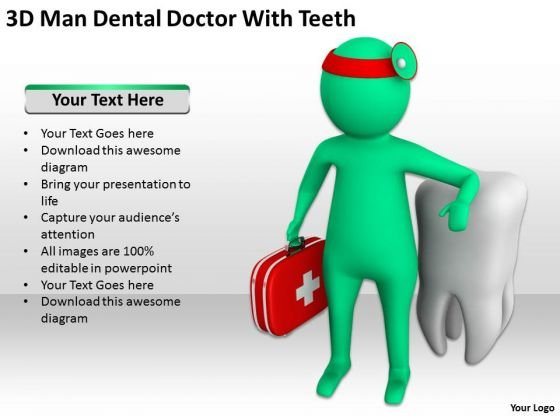 Men At Work Business As Usual 3d Man Dental Doctor With Teeth PowerPoint Slides
