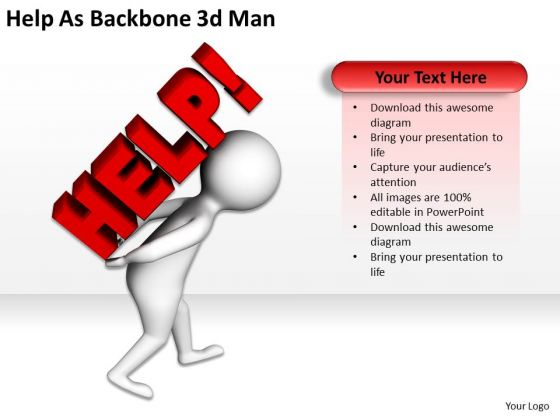 Men At Work Business As Usual Backbone 3d Man PowerPoint Templates Ppt Backgrounds For Slides