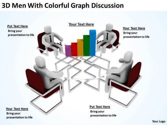Men At Work Business As Usual Graph Discussion PowerPoint Templates Ppt Backgrounds For Slides