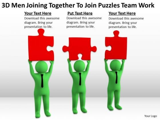 Men At Work Business As Usual Joining Together Puzzles Team PowerPoint Templates