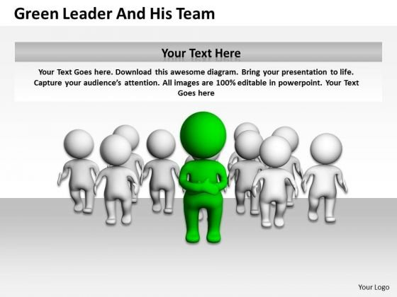 Men At Work Business As Usual Leader And His Team PowerPoint Templates Ppt Backgrounds For Slides