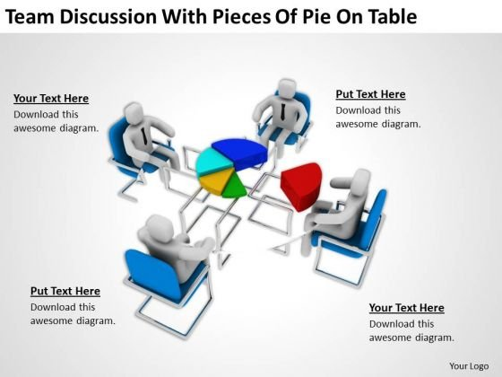 Men At Work Business As Usual Of Pie On Table PowerPoint Templates Ppt Backgrounds For Slides