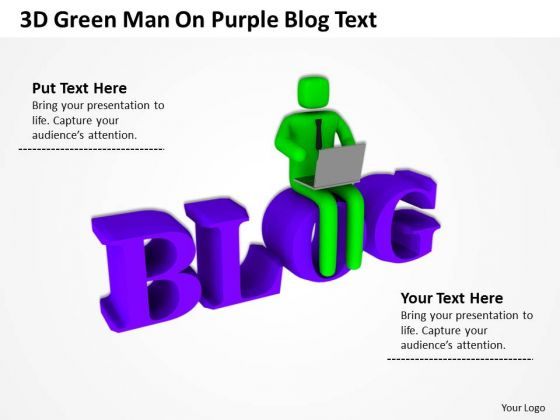 Men At Work Business As Usual On Purple Blog Text PowerPoint Templates Ppt Backgrounds For Slides