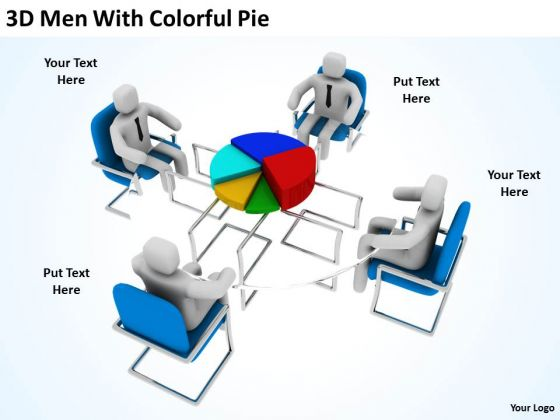 Men At Work Business As Usual With Colorful Pie PowerPoint Templates Ppt Backgrounds For Slides