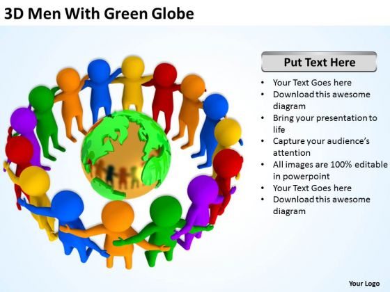 Men At Work Business As Usual With Green Globe PowerPoint Templates Ppt Backgrounds For Slides