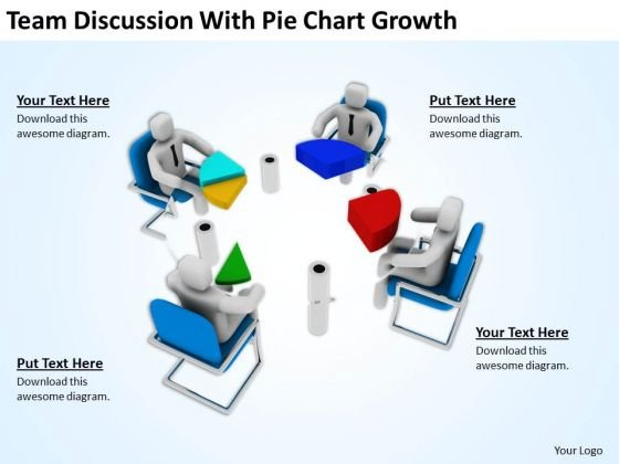 Men At Work Business As Usual With Pie Chart Growth PowerPoint Templates Ppt Backgrounds For Slides