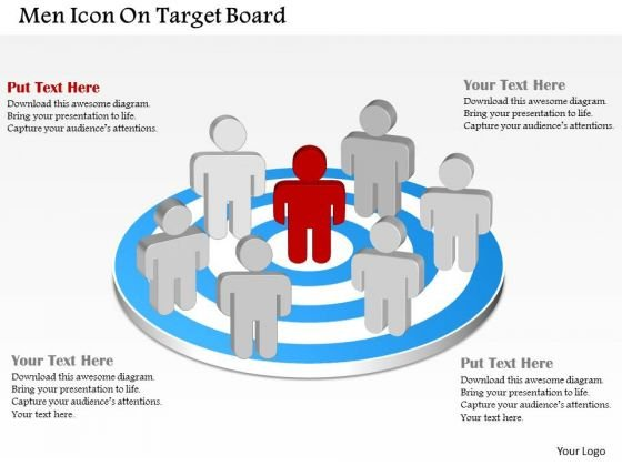 Men Icon On Target Board PowerPoint Template