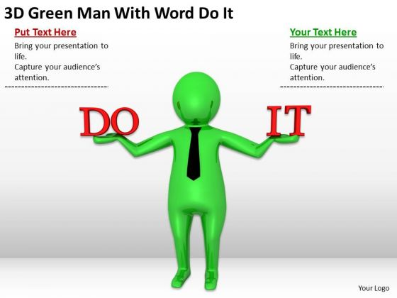 Men In Business 3d Green Man With Word Do PowerPoint Slides