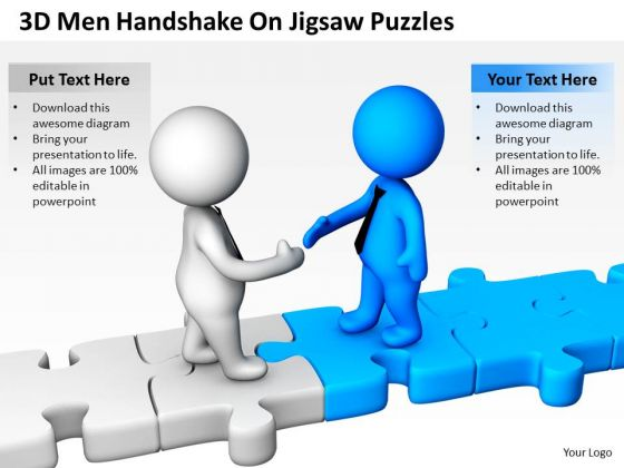 Men In Business 3d Handshake On Jigsaw Puzzles PowerPoint Slides