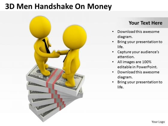 Men In Business 3d Handshake On Money PowerPoint Slides