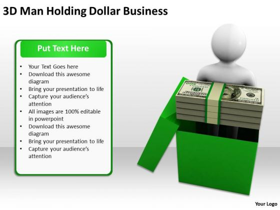 Men In Business 3d Man Holding Dollar PowerPoint Theme Templates