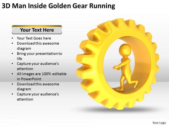 Men In Business 3d Man Inside Golden Gear Running PowerPoint Templates