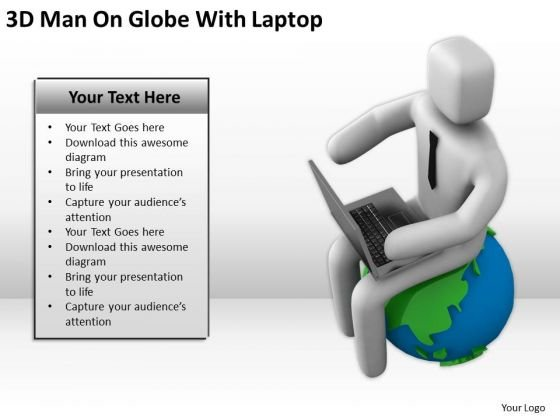 Men In Business 3d Man On Globe With Laptop PowerPoint Templates