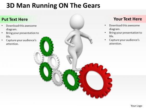 Men In Business 3d Man Running On Green Gear PowerPoint Templates Ppt Backgrounds For Slides