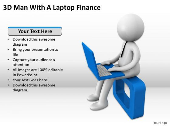 Men In Business 3d Man With Laptop Finance PowerPoint Templates Ppt Backgrounds For Slides