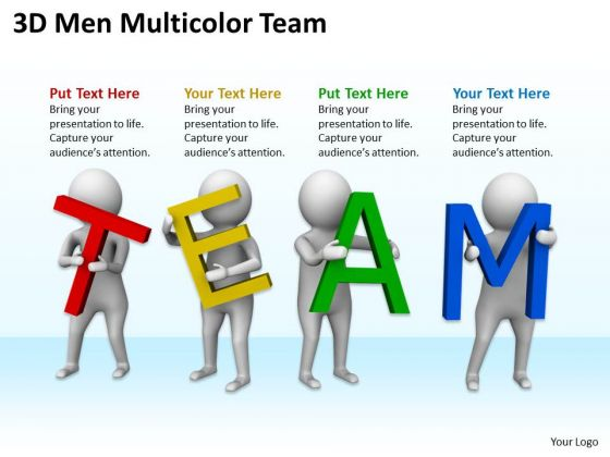 Men In Business 3d Multicolor Team PowerPoint Templates Ppt Backgrounds For Slides
