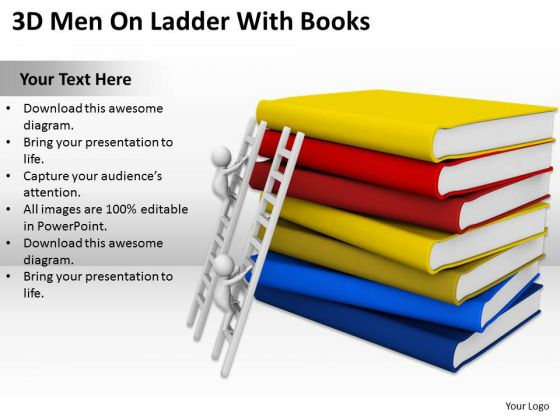 Men In Business 3d On Ladder With Books PowerPoint Templates Ppt Backgrounds For Slides