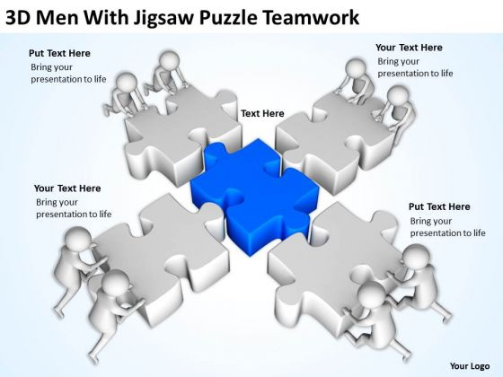 Men In Business 3d With Jigsaw Puzzle Teamwork PowerPoint Templates