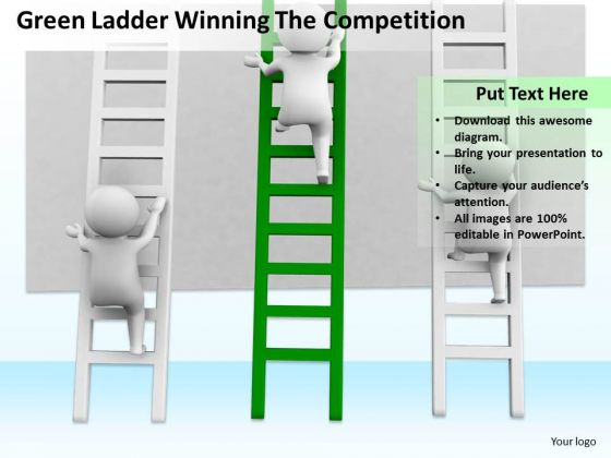 Men In Business Green Ladder Winning The Competition PowerPoint Slides