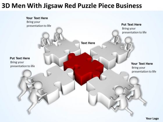 Men In Business Jigsaw Red Puzzle Piece PowerPoint Presentation Templates