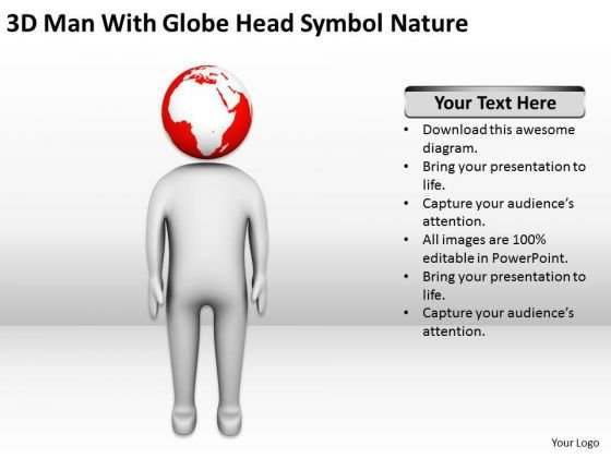 Men In Business Man With Globe Head Symbol Nature PowerPoint Templates Ppt Backgrounds For Slides