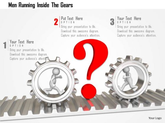 Men Running Inside The Gears PowerPoint Templates