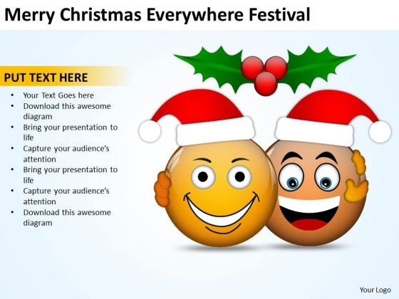 Merry Christmas Everywhere Festival Creating Flowchart PowerPoint Slides