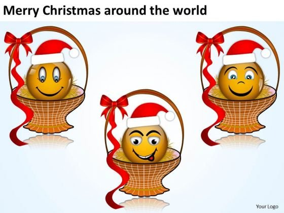 Merry Christmas Smiley In The Basket Joy Template PowerPoint Slides