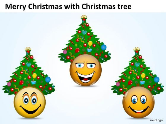 Merry Christmas Smileys With Christmas Trees PowerPoint Slides