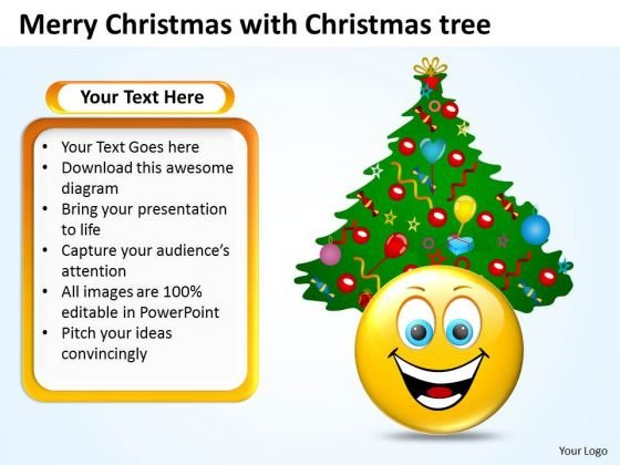 Merry Christmas With Tree Flowchart PowerPoint Free Templates