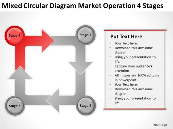 Mixed Circular Diagram Market Operation 4 Stages Ppt Sample Business Plan PowerPoint Slides