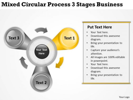 Mixed Circular Process 3 Stages Business Ppt Great Plan Examples PowerPoint Templates