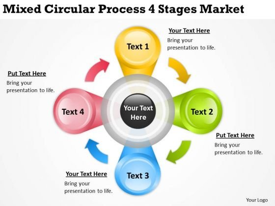 Mixed Circular Process 4 Stages Market Ppt Business Proposal Template PowerPoint Slides