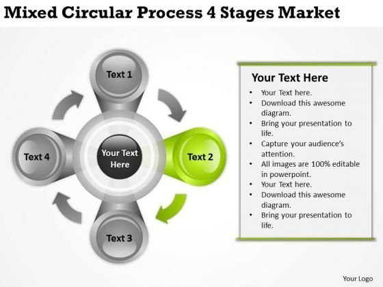 Mixed Circular Process 4 Stages Market Ppt How To Design Business Plan PowerPoint Slides