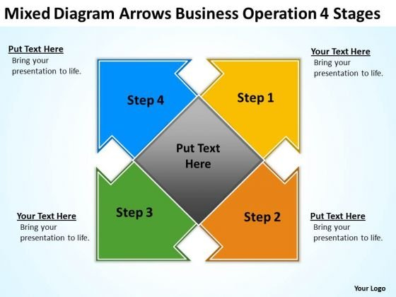 Mixed Diagram Arrows Business Operation 4 Stages Ppt My Plan PowerPoint Templates