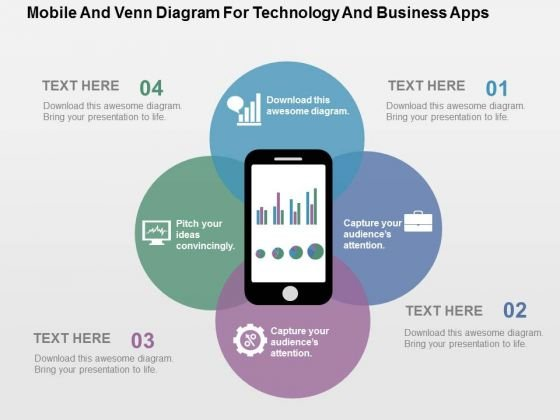 Mobile And Venn Diagram For Technology And Business Apps PowerPoint Template