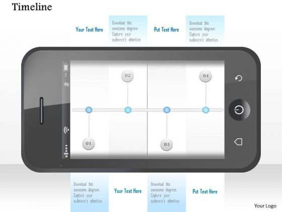 Mobile With Timeline On Screen For Achievement Presentation Template